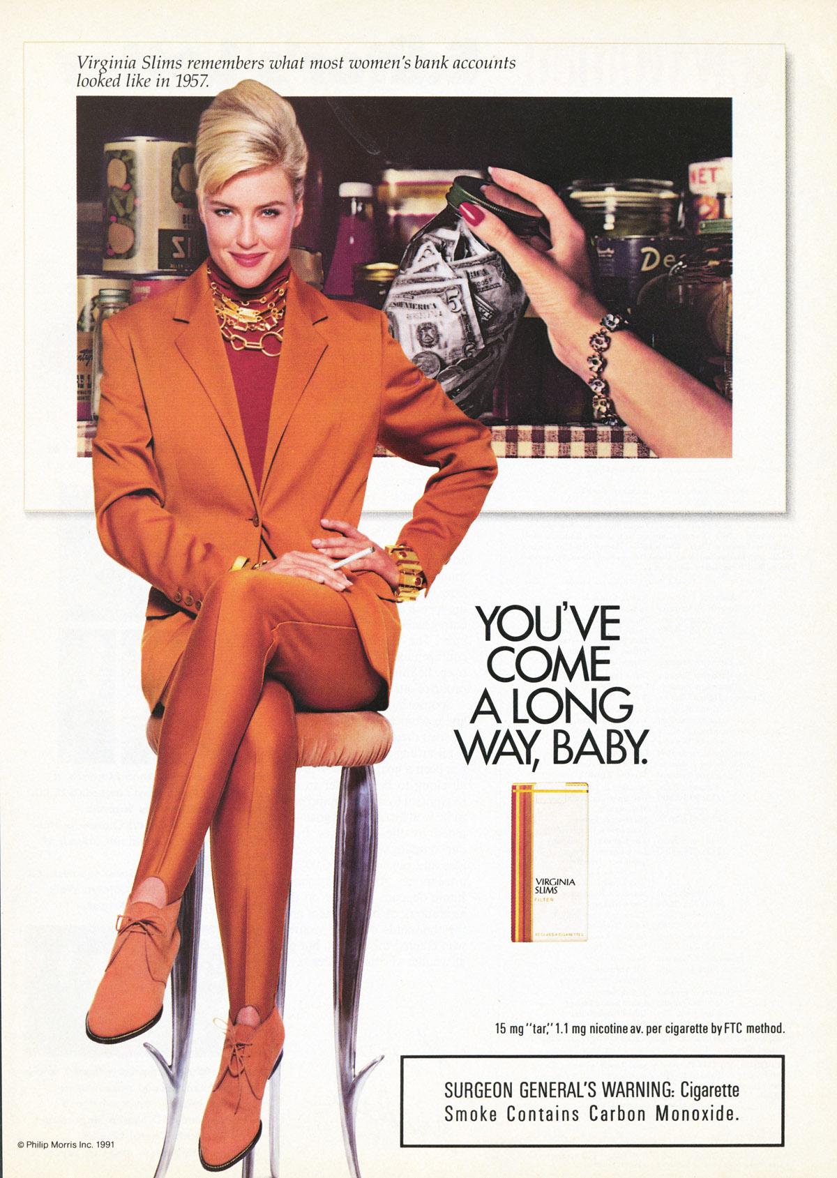 Com cigarro a mulher podia chegar mais longe, dizia este anúncio.
